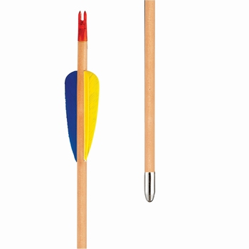 Wooden Recreational Arrow Natural Feathers